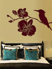 Kingfisher With Flowers Wall Deca Wall Art ( Brown ) - DeStudio