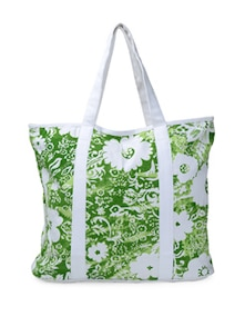 Green And White Floral Tote Bag - Art Forte
