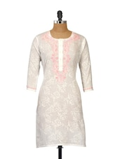 Self Print White Kurti With Pink Embroidery - Go Lucknow