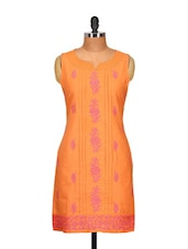 Peach Passion Embroidered Kurti - Go Lucknow