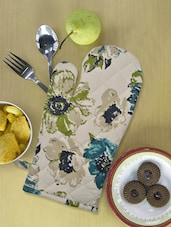 Beige Kitchen Glove With Green And Blue Floral Prints - Ambbi Collections