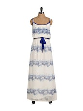Blue And White Elegant Maxi Dress - Eavan
