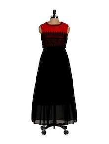 Sultry Black And Red Lacey Maxi Dress - Eavan