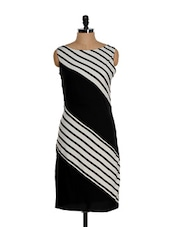 Black And White Knee-length Striped Dress - Eavan