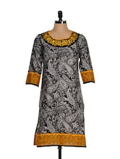 Black And White Kurti With Embroidered Neckline - Eavan