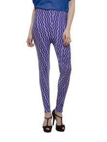 Blue Zig Zag Print Leggings - Being Fab