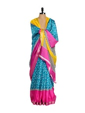 Blue Bhagalpuri Art Silk Saree - Purple Oyster