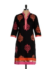 Patterned Black Cotton Kurti - Inara Robes