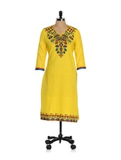 Printed Yellow Cotton Kurti - Inara Robes