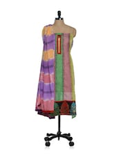 Multi-coloured Cotton And Art Silk Unstitched Salwar Suit With Zari Work - Paakhi