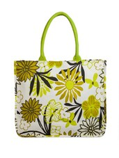 Stylish White And Green Floral Print Tote Bag - YOLO - You Only Live Once