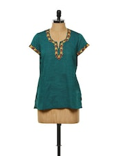 Teal Blue Floral Embroidered Kurta - Vedanta