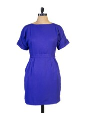 Midi-Length Royal Blue Dress - Miss Chase
