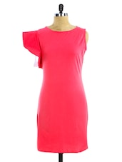 Pink Ruffled Sleeve Jersey Dress - Miss Chase