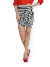 Striped Faux Wrap Skirt - CHERYMOYA