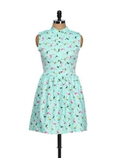 Flamingo Print Blue Dress - CHERYMOYA