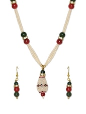 Stone Studded Faux Pearl Necklace Set - Savi
