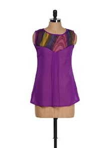 Purple Summer Top With A Multi-coloured Neck - M Expose