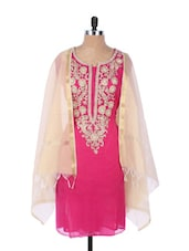 Bright Pink  Georgette Kurta With An Embroidered Placket And Sleeves , Cream Dupatta - Krishna's