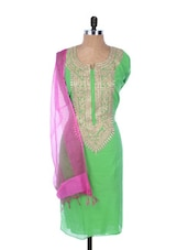 Green Linen Kurta With Embroidery On The Placket And Sleeves, Pink Dupatta - Krishna's
