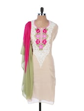 Light Pink Chanderi Kurta With Embroidery On The Placket And Sleeves, Pink And Green Dupatta - Krishna's