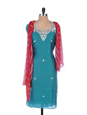 Turquoise Blue Linen Kurta With Embroidery, Gota Work On The Neck And Sleeves, Red Dupatta - Krishna's