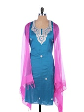 Blue Linen Kurta With Embroidery, Gota Work On The Neck And Sleeves, Pink Dupatta - Krishna's
