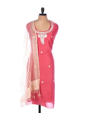 Red Linen Kurta With Embroidery, Gota Work On The Neck And Sleeves, Transparent Cream Dupatta - Krishna's