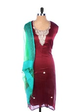 Maroon Linen Kurta With Embroidery, Gota Work On The Placket And Sleeves, Transparent Blue Dupatta - Krishna's