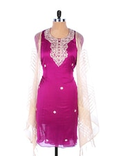Purple Linen Kurta With Embroidery, Gota Work On The Placket And Sleeves, Transparent White Dupatta - Krishna's