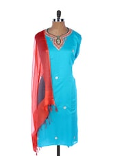 Light Blue Linen Kurta With Embroidery, Gota Work On The Neck And Sleeves, Transparent Red Dupatta - Krishna's