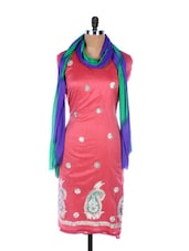 Red Linen Kurta With Embroidery, Gota Work On The Hemline And Sleeves With Blue And Green Dupatta - Krishna's