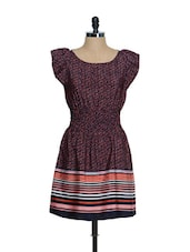 Maroon Georgette Skater Dress With Multi-coloured Prints And Ruffled Sleeves - Oranje