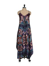 Multi-coloured Printed Satin Asymmetrical Long Dress With A Cross Back - Oranje