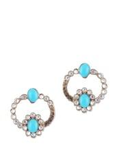 Sky Blue And White Kundan Earrings - KSHITIJ