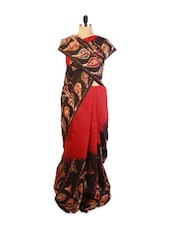 Red And Brown Batik Print Saree - ZAHARA