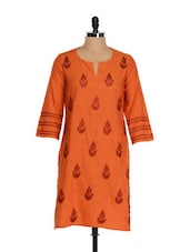 Orange Kurta With Maroon Embroidery Work - Go Lucknow