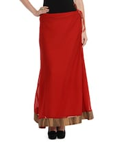 Red Maxi Skirt With Golden Zari Border - NAVYOU