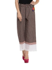 Maroon And Black Printed Palazzo With Lace Hemline - Free Living