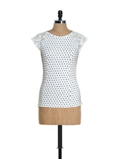 Polka Dot Top With Lace Sleeves - Citrine