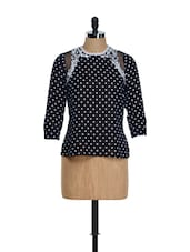 Blue Polka Dot Top With Net - Citrine