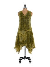 Olive Green And Yellow Sleeveless Asymmetrical Dress - Ayaany
