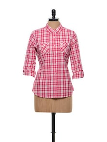 Pink And White Checkered Prints Shirt - Overdrive