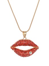 Red Lips Pendant With Chain - THE PARI