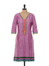 Floral Printed Pink Cotton Kurti - SHREE