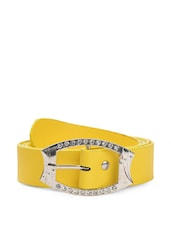 Yellow Faux Leather Belt With Embellished Buckle - QUEST