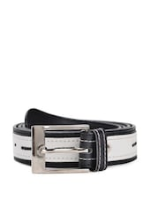 Black And White Faux Leather Belt With A Metal Buckle - QUEST