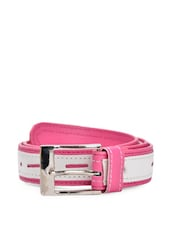 Pink And White Faux Leather Belt With A Metal Buckle - QUEST