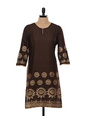 Brown And Golden Block Printed Cotton Kurta - SHREE