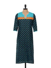 Black And Blue Printed Cotton Kurta - SHREE